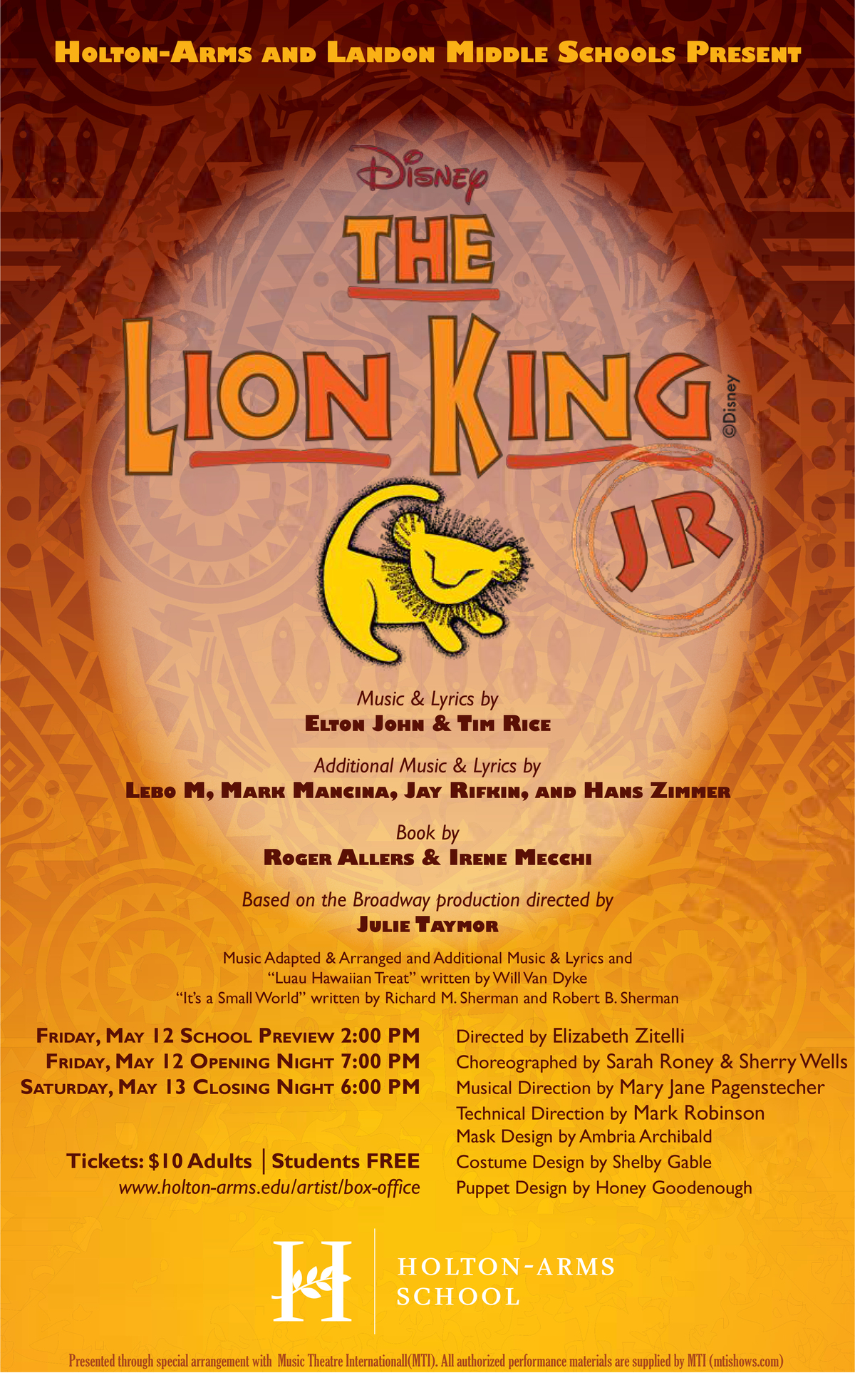 HOLTON-ARMS MS MUSICAL: THE LION KING JR. PERFORMANCES, MAY 12 & 13